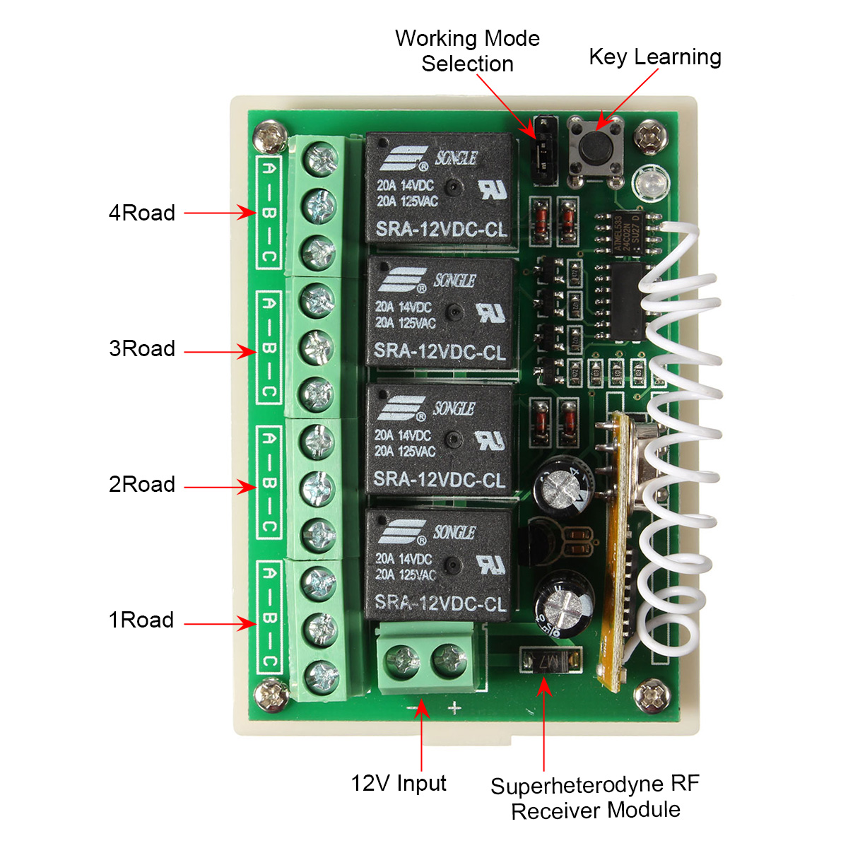 ... DC 12V 4CH Channel 433Mhz Wireless Remote Control Switch With 2  Transimitter ...
