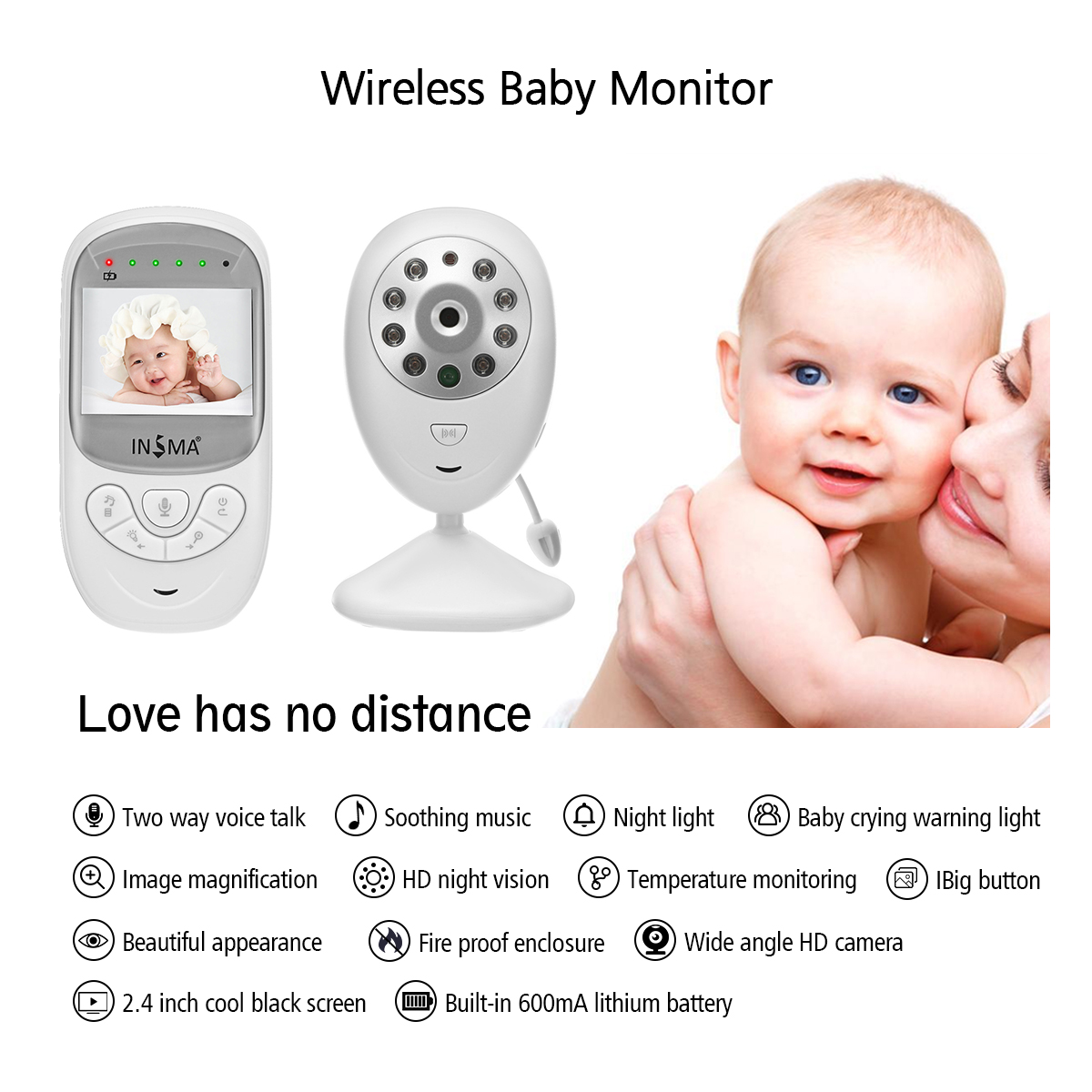 INSMA Night Vision Two-Way Talk Back Baby Monitor